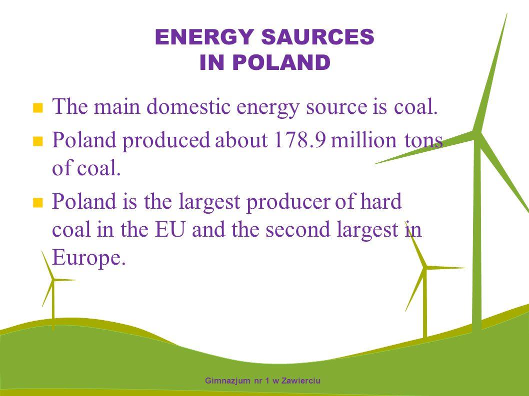 BIOMASS SOURCE IN POLAND 15 power plants using biomass only Gimnazjum nr 1 w Zawierciu