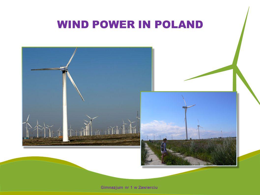 WIND TURBINS IN POLAND 350 wind turbines 40 wind installations work of the total capacity about 58 MW Gimnazjum nr 1 w Zawierciu