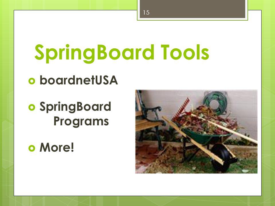 SpringBoard Tools boardnetUSA SpringBoard Programs More! 15