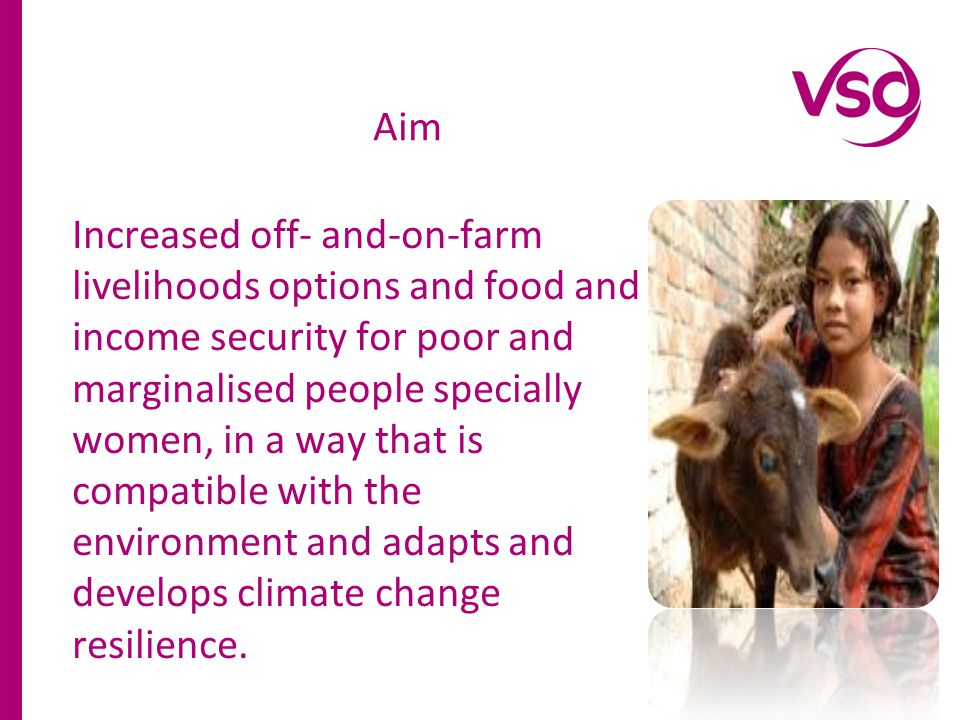 Increased off- and-on-farm livelihoods options and food and income security for poor and marginalised people specially women, in a way that is compatible with the environment and adapts and develops climate change resilience.