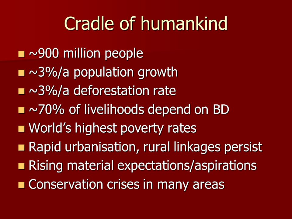 Cradle of humankind ~900 million people ~900 million people ~3%/a population growth ~3%/a population growth ~3%/a deforestation rate ~3%/a deforestation rate ~70% of livelihoods depend on BD ~70% of livelihoods depend on BD Worlds highest poverty rates Worlds highest poverty rates Rapid urbanisation, rural linkages persist Rapid urbanisation, rural linkages persist Rising material expectations/aspirations Rising material expectations/aspirations Conservation crises in many areas Conservation crises in many areas