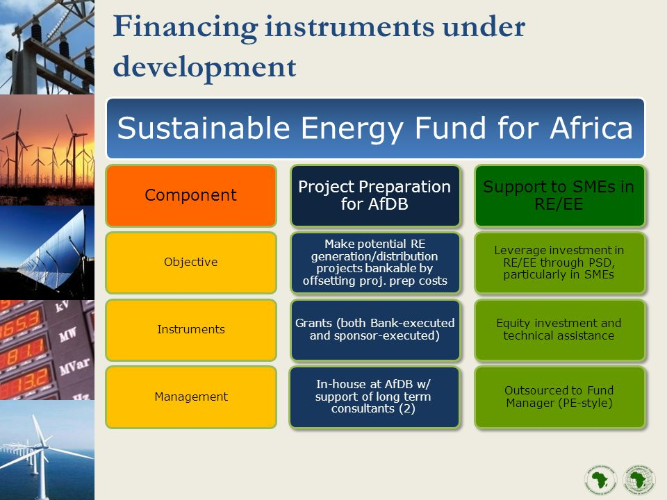 Financing instruments under development Sustainable Energy Fund for Africa Component ObjectiveInstrumentsManagement Project Preparation for AfDB Make potential RE generation/distribution projects bankable by offsetting proj.