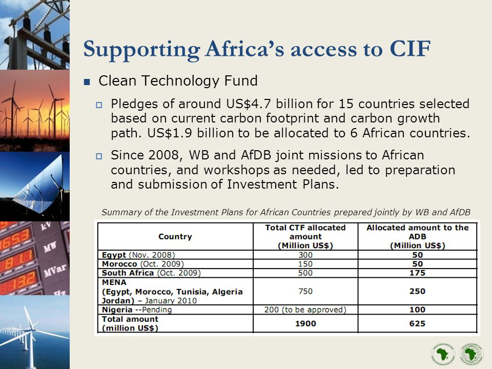 Supporting Africas access to CIF Clean Technology Fund Pledges of around US$4.7 billion for 15 countries selected based on current carbon footprint and carbon growth path.