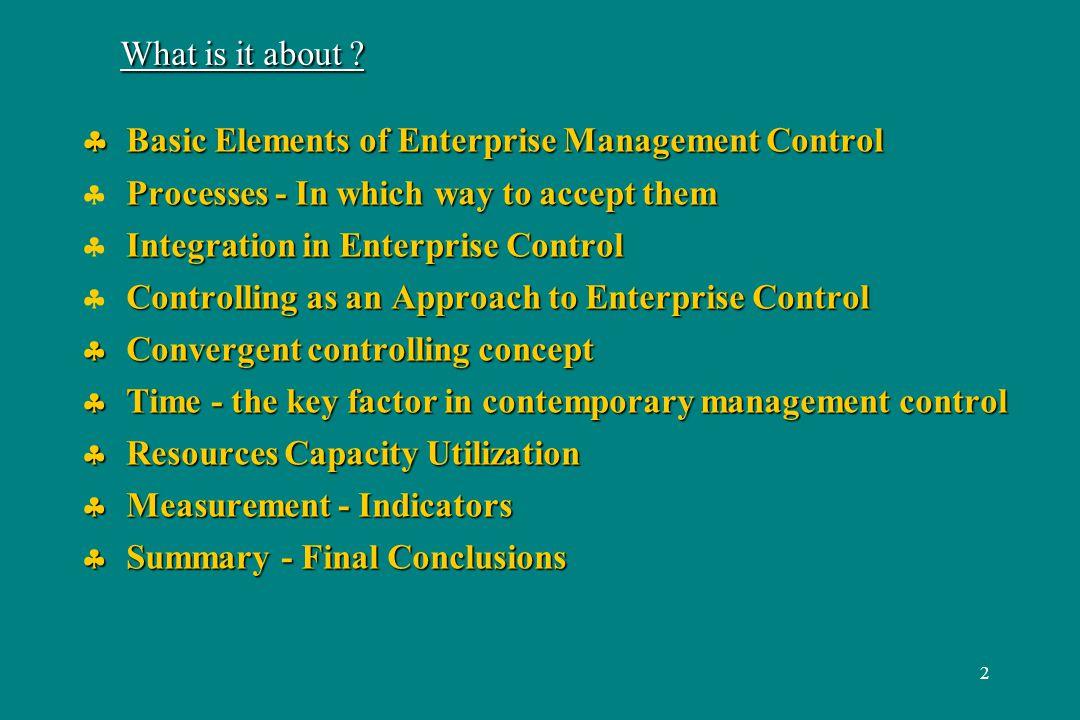 3 Basic Elements (Entities) of Enterprise Management Control Products (incl.