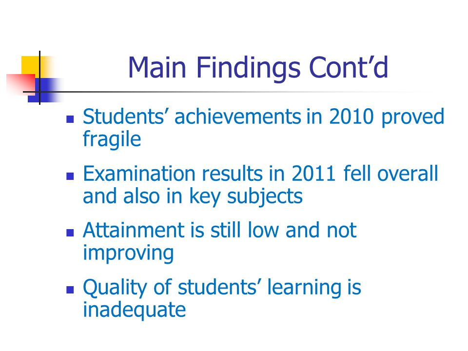 Main Findings Contd Students achievements in 2010 proved fragile Examination results in 2011 fell overall and also in key subjects Attainment is still low and not improving Quality of students learning is inadequate