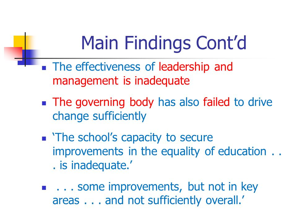 Main Findings Contd The effectiveness of leadership and management is inadequate The governing body has also failed to drive change sufficiently The schools capacity to secure improvements in the equality of education...