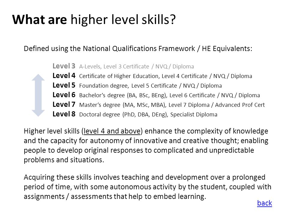 What are higher level skills.