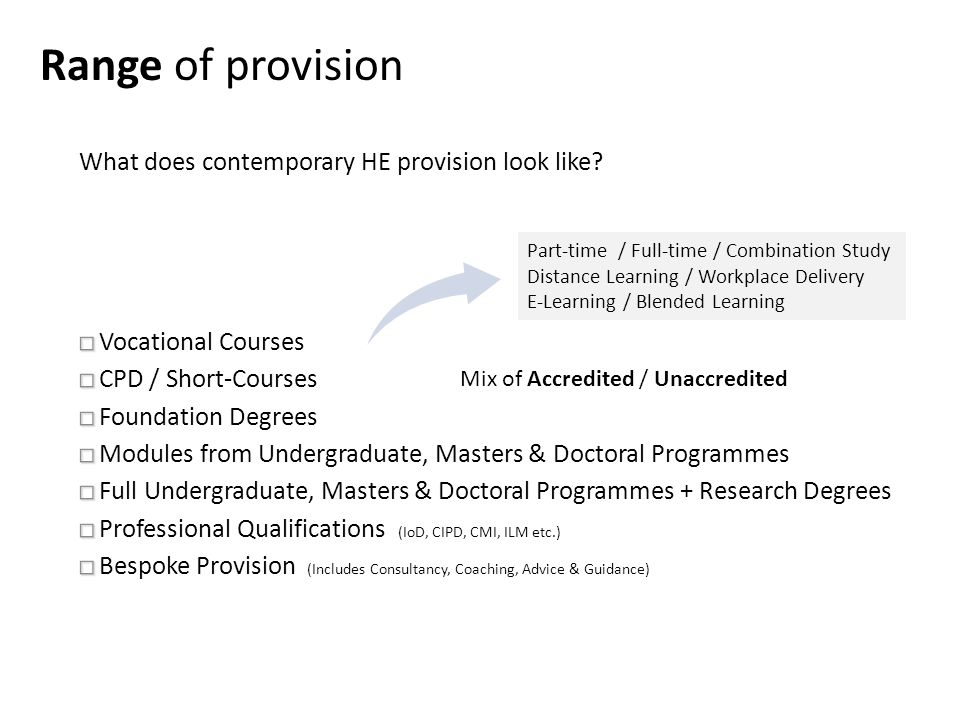 Range of provision Part-time / Full-time / Combination Study Distance Learning / Workplace Delivery E-Learning / Blended Learning Mix of Accredited / Unaccredited What does contemporary HE provision look like
