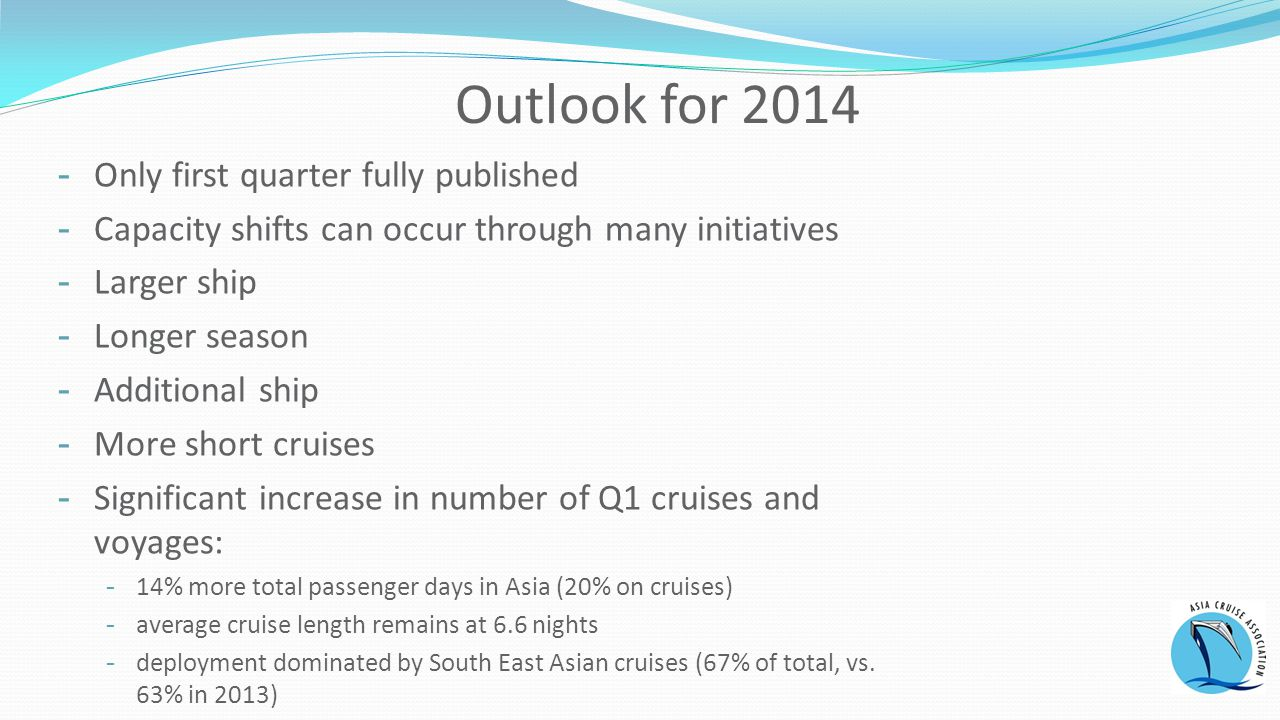 Outlook for Only first quarter fully published -Capacity shifts can occur through many initiatives -Larger ship -Longer season -Additional ship -More short cruises -Significant increase in number of Q1 cruises and voyages: -14% more total passenger days in Asia (20% on cruises) -average cruise length remains at 6.6 nights -deployment dominated by South East Asian cruises (67% of total, vs.