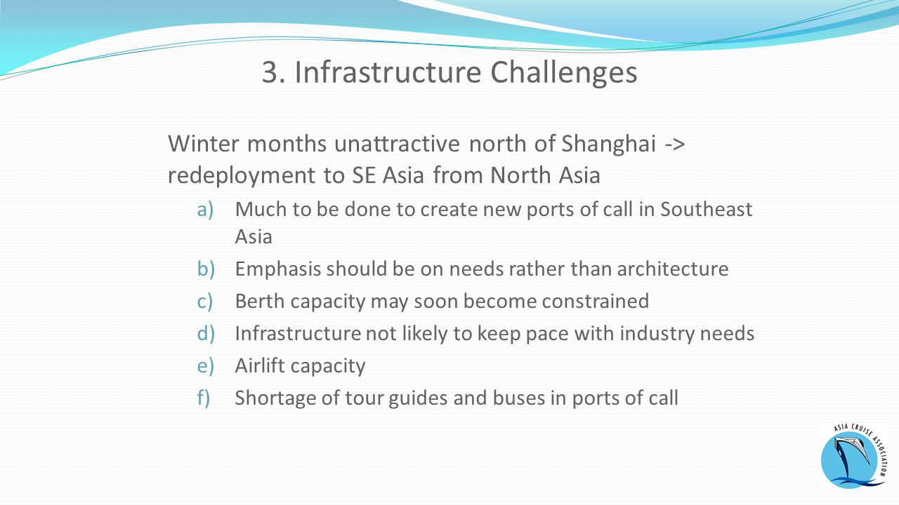 3. Infrastructure Challenges Winter months unattractive north of Shanghai -> redeployment to SE Asia from North Asia a)Much to be done to create new p
