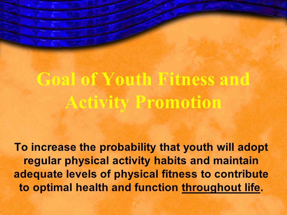 Goal of Youth Fitness and Activity Promotion To increase the probability that youth will adopt regular physical activity habits and maintain adequate