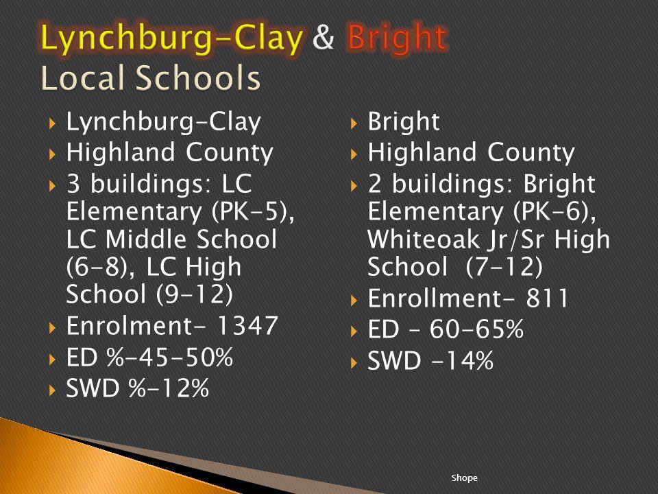 Lynchburg-Clay Highland County 3 buildings: LC Elementary (PK-5), LC Middle School (6-8), LC High School (9-12) Enrolment- 1347 ED %-45-50% SWD %-12%