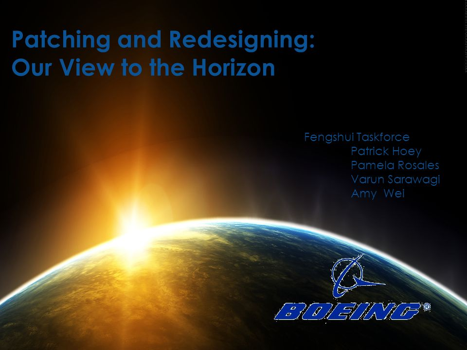 Title Here Departure Future of Boeing Timeline/ Financials Landing Supply Chain Existing Solution Proposed Solution Supplier Boeing supervision office Supplier Separate liaison of Boeing Design & technician support Patching and Redesigning: Our View to the Horizon Fengshui Taskforce Patrick Hoey Pamela Rosales Varun Sarawagi Amy Wei