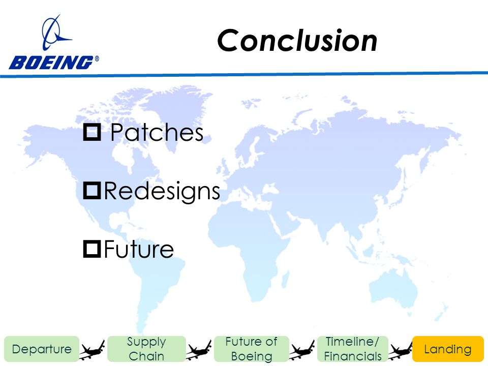 Conclusion Departure Future of Boeing Timeline/ Financials Landing Supply Chain Patches Redesigns Future