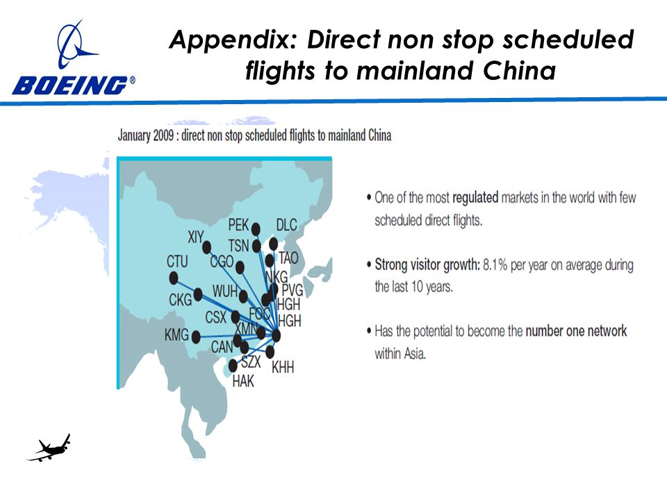 Appendix: Direct non stop scheduled flights to mainland China