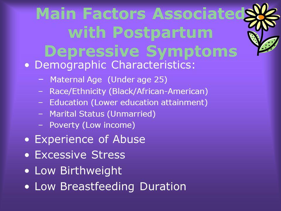 Main Factors Associated with Postpartum Depressive Symptoms Demographic Characteristics: – Maternal Age (Under age 25) – Race/Ethnicity (Black/African