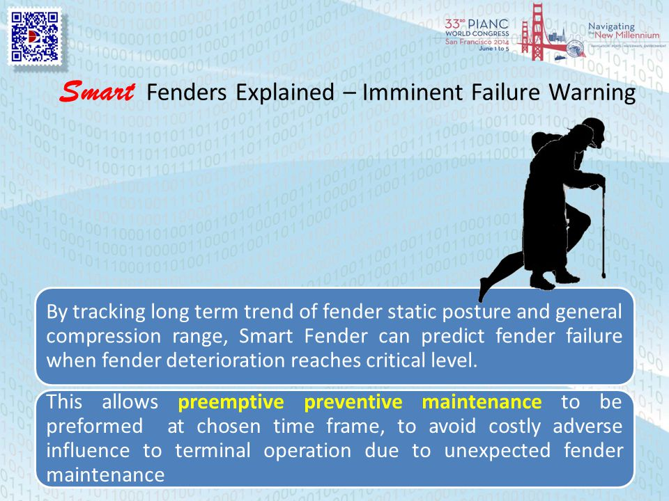 Smart Fenders Explained – Imminent Failure Warning By tracking long term trend of fender static posture and general compression range, Smart Fender can predict fender failure when fender deterioration reaches critical level.
