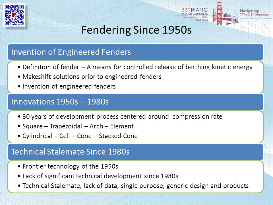 Fendering Since 1950s Invention of Engineered Fenders Definition of fender – A means for controlled release of berthing kinetic energy Makeshift solut
