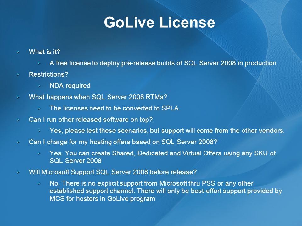 GoLive License What is it.