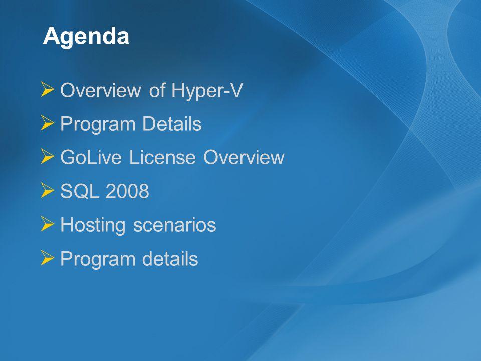 Agenda Overview of Hyper-V Program Details GoLive License Overview SQL 2008 Hosting scenarios Program details