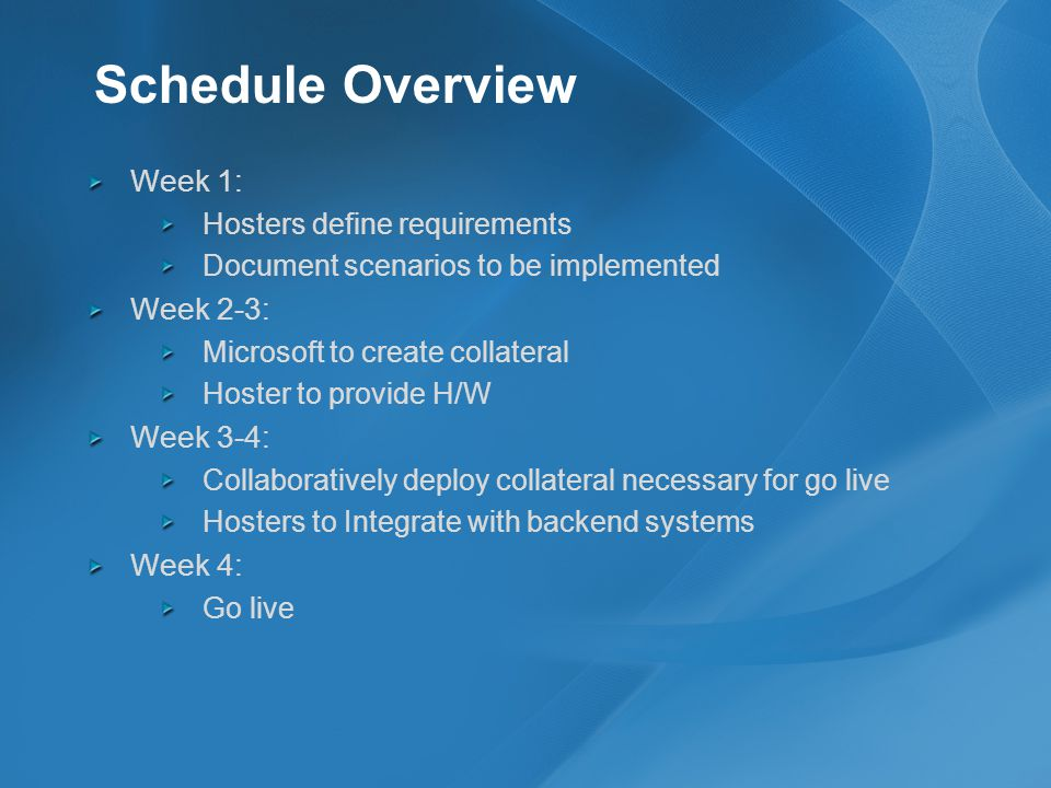 Schedule Overview Week 1: Hosters define requirements Document scenarios to be implemented Week 2-3: Microsoft to create collateral Hoster to provide H/W Week 3-4: Collaboratively deploy collateral necessary for go live Hosters to Integrate with backend systems Week 4: Go live