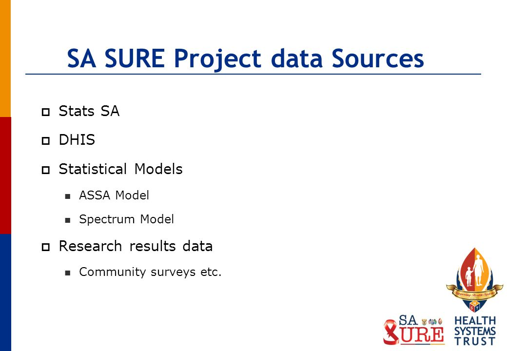 SA SURE Project data Sources Stats SA DHIS Statistical Models ASSA Model Spectrum Model Research results data Community surveys etc.
