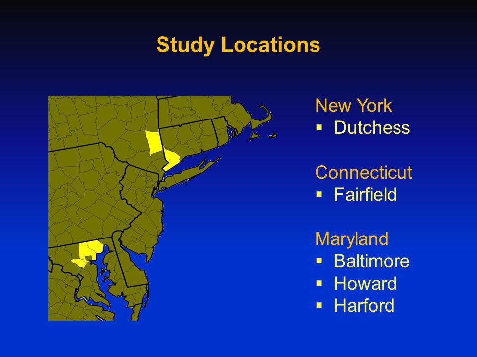 Study Locations New York Dutchess Connecticut Fairfield Maryland Baltimore Howard Harford