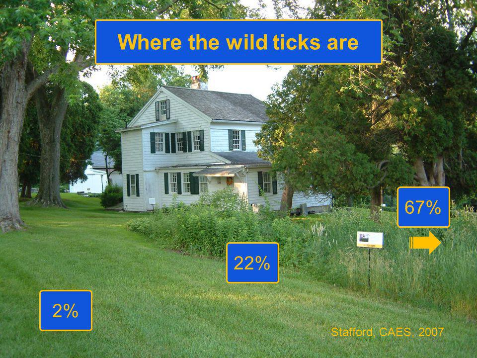 67% Where the wild ticks are 22% 2% Stafford, CAES, 2007