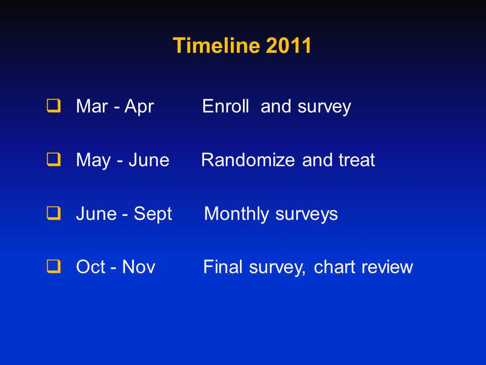 Timeline 2011 Mar - Apr Enroll and survey May - June Randomize and treat June - Sept Monthly surveys Oct - Nov Final survey, chart review