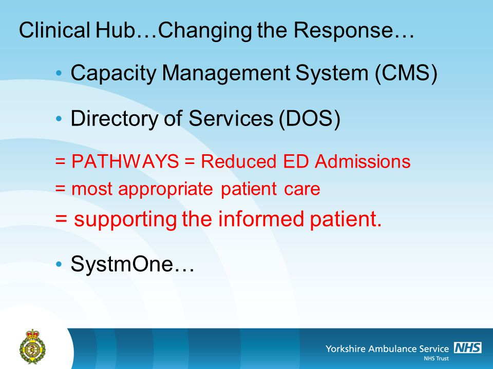Clinical Hub…Changing the Response… Capacity Management System (CMS) Directory of Services (DOS) = PATHWAYS = Reduced ED Admissions = most appropriate patient care = supporting the informed patient.