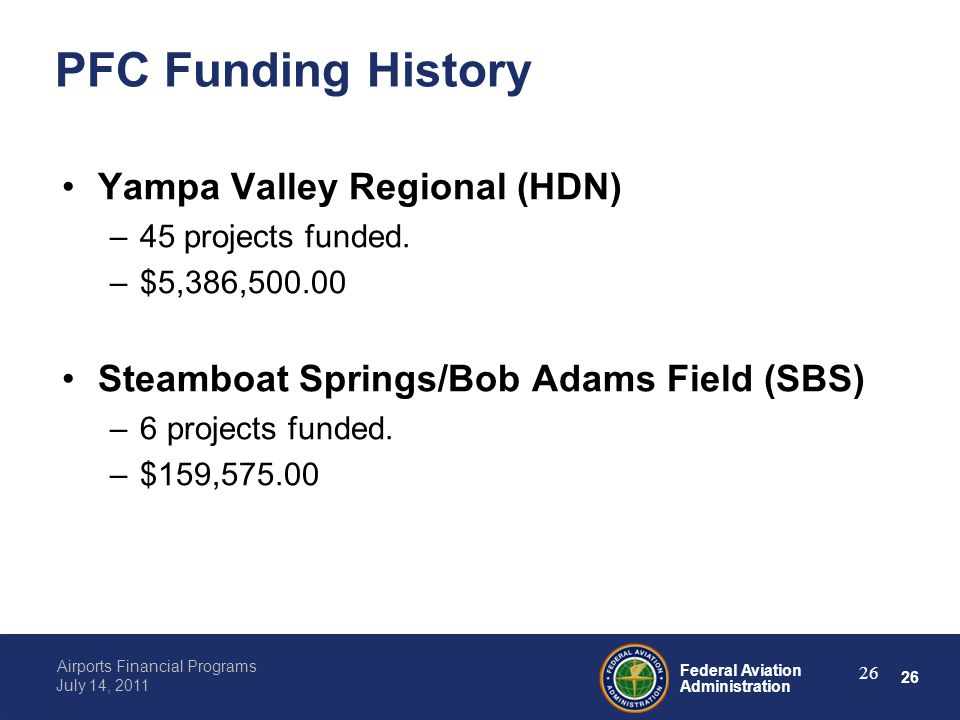 26 Federal Aviation Administration Airports Financial Programs July 14, 2011 26 PFC Funding History Yampa Valley Regional (HDN) –45 projects funded.