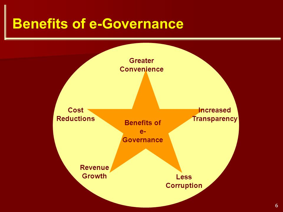 6 Benefits of e-Governance Cost Reductions Less Corruption Increased Transparency Revenue Growth Greater Convenience