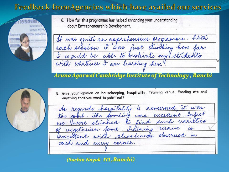 Aruna Agarwal Cambridge Institute of Technology, Ranchi (Sachin Nayak ITI,Ranchi)