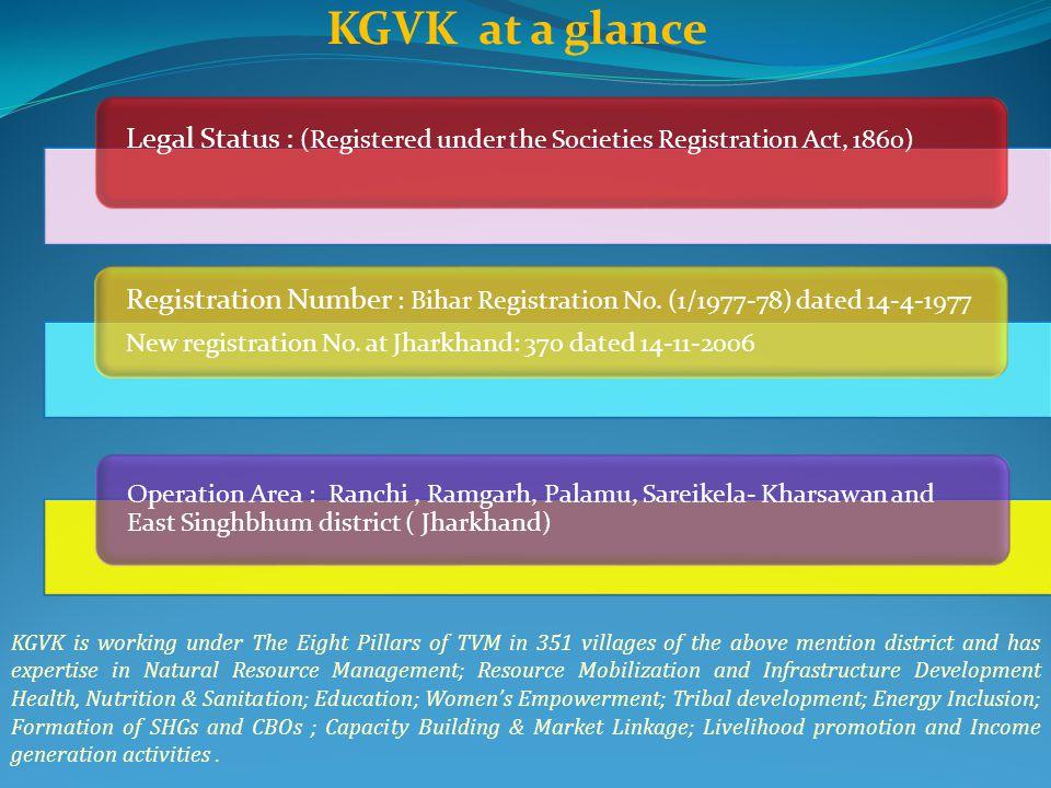 KGVK at a glance Legal Status : (Registered under the Societies Registration Act, 1860) Registration Number : Bihar Registration No. (1/1977-78) dated