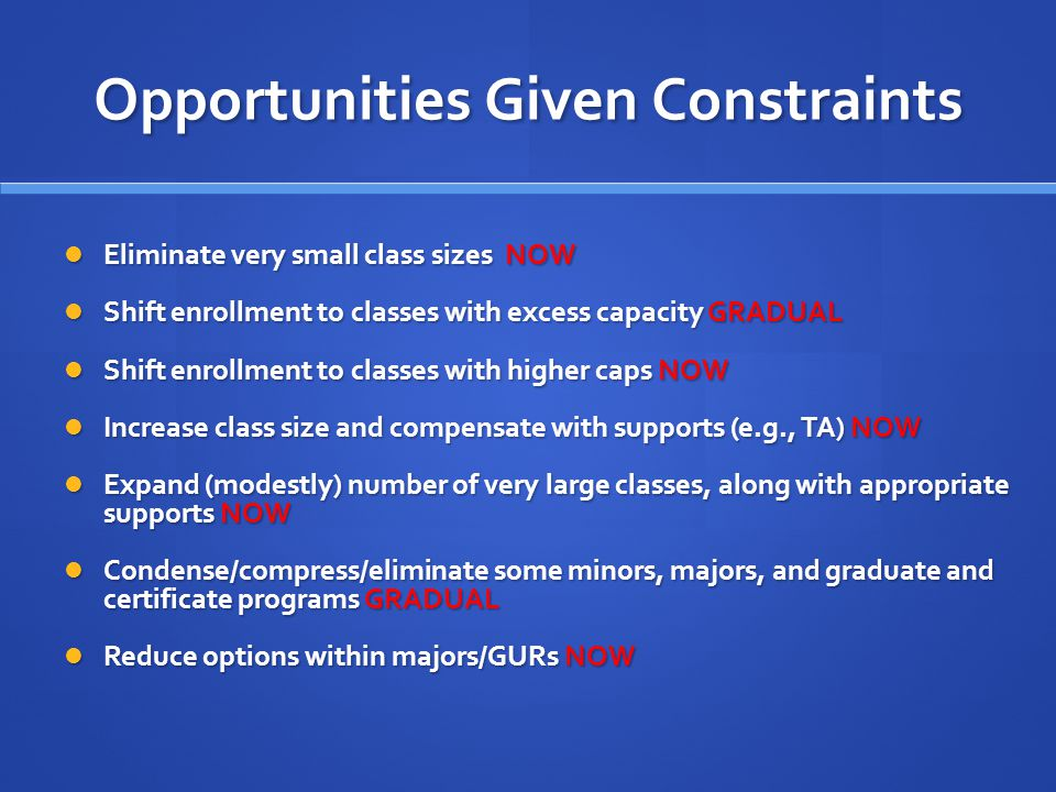 Opportunities Given Constraints Eliminate very small class sizes NOW Eliminate very small class sizes NOW Shift enrollment to classes with excess capacity GRADUAL Shift enrollment to classes with excess capacity GRADUAL Shift enrollment to classes with higher caps NOW Shift enrollment to classes with higher caps NOW Increase class size and compensate with supports (e.g., TA) NOW Increase class size and compensate with supports (e.g., TA) NOW Expand (modestly) number of very large classes, along with appropriate supports NOW Expand (modestly) number of very large classes, along with appropriate supports NOW Condense/compress/eliminate some minors, majors, and graduate and certificate programs GRADUAL Condense/compress/eliminate some minors, majors, and graduate and certificate programs GRADUAL Reduce options within majors/GURs NOW Reduce options within majors/GURs NOW