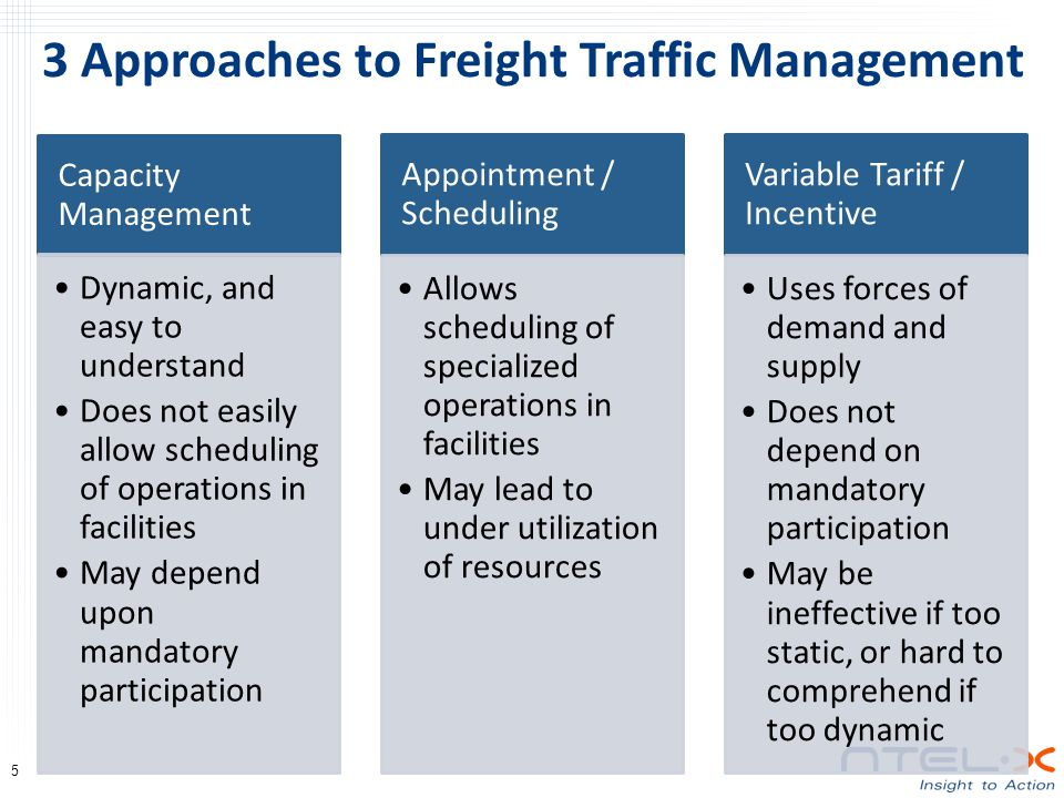 3 Approaches to Freight Traffic Management 5