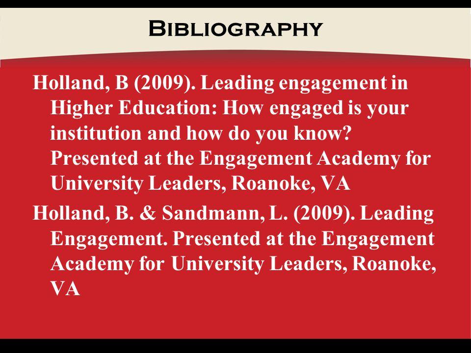Bibliography Holland, B (2009).