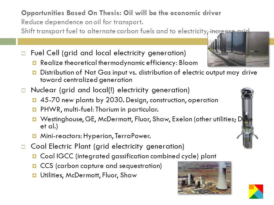 Opportunities Based On Thesis: Oil will be the economic driver Reduce dependence on oil for transport.