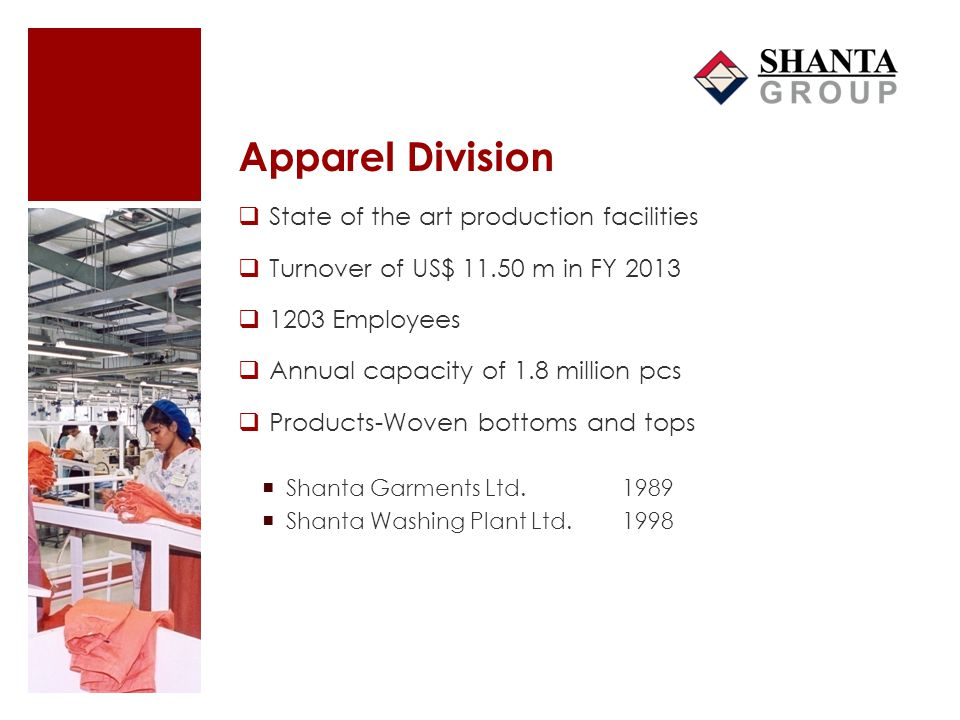 Apparel Division State of the art production facilities Turnover of US$ 11.50 m in FY 2013 1203 Employees Annual capacity of 1.8 million pcs Products-