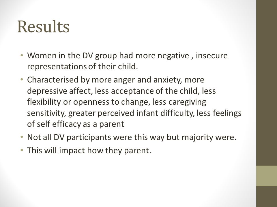 Results Women in the DV group had more negative, insecure representations of their child. Characterised by more anger and anxiety, more depressive aff