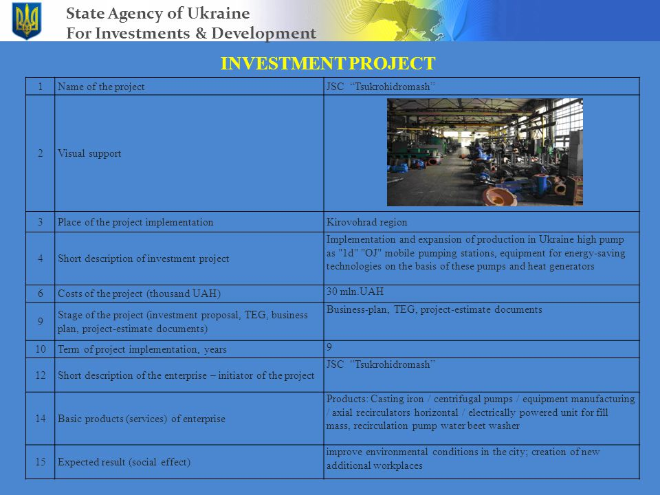 INVESTMENT PROJECT State Agency of Ukraine For Investments & Development 1Name of the projectJSC Tsukrohidromash 2Visual support 3Place of the project