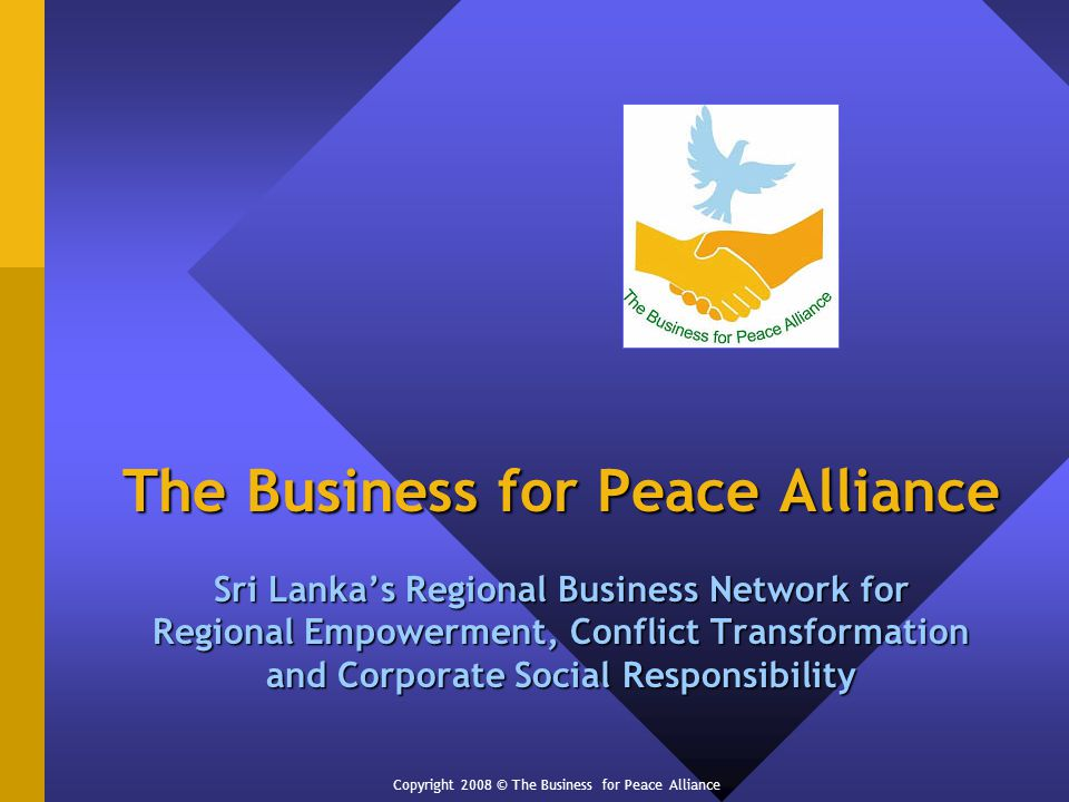 The Business for Peace Alliance Sri Lankas Regional Business Network for Regional Empowerment, Conflict Transformation and Corporate Social Responsibility Copyright 2008 © The Business for Peace Alliance