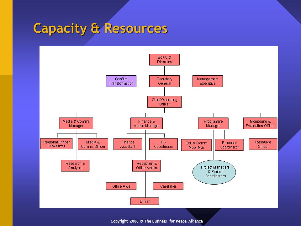 Capacity & Resources Copyright 2008 © The Business for Peace Alliance