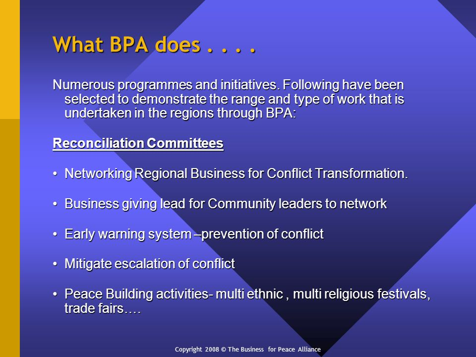 What BPA does.... Numerous programmes and initiatives.