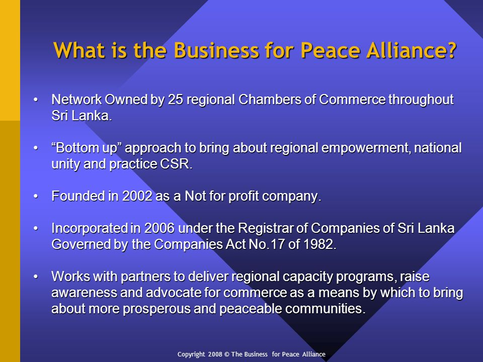 What is the Business for Peace Alliance.