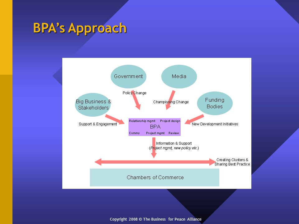 BPAs Approach Copyright 2008 © The Business for Peace Alliance