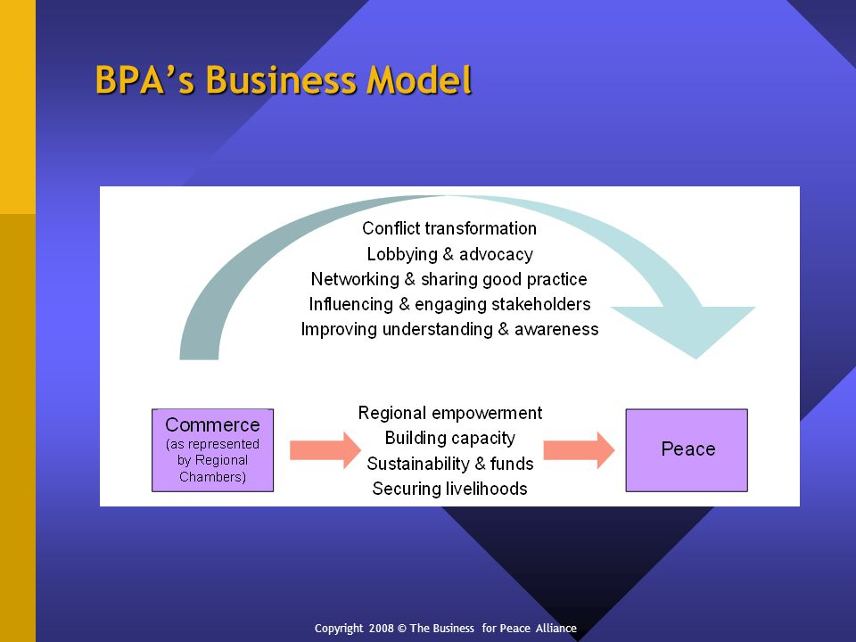 BPAs Business Model Copyright 2008 © The Business for Peace Alliance
