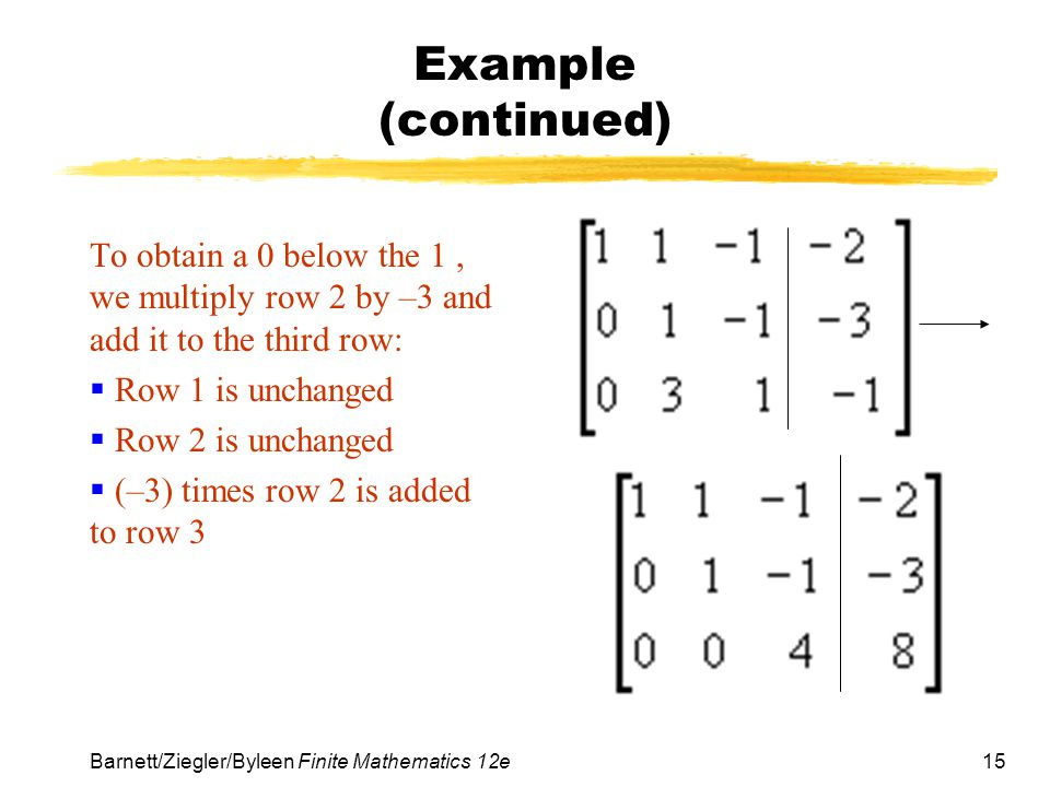 15 Barnett/Ziegler/Byleen Finite Mathematics 12e Example (continued) To obtain a 0 below the 1, we multiply row 2 by –3 and add it to the third row: R