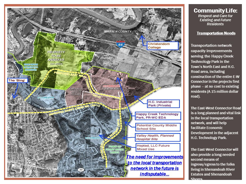 3 Transportation Needs Transportation network capacity improvements serving the Happy Creek Technology Park in the Towns North East and H.C. Road area