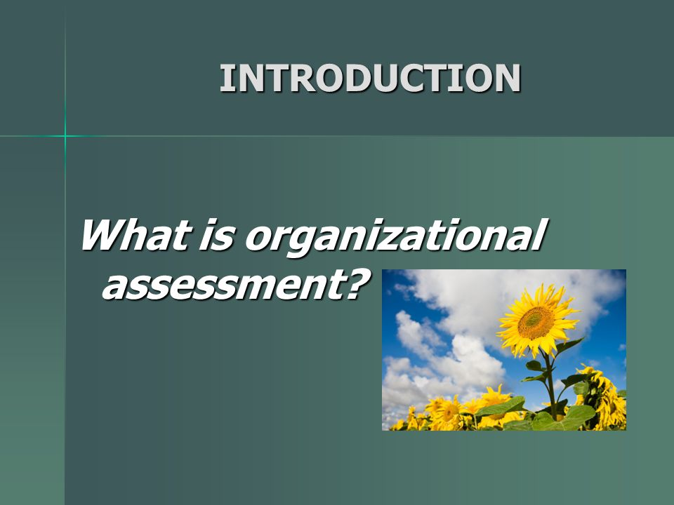 INTRODUCTION Organizational assessment is an intentional review of how an organization is functioning internally and its interaction with external stakeholders.